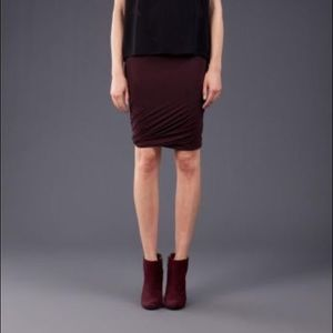 T by Alexander Wang Draped Jersey Skirt Burgundy